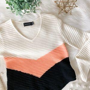 MINKPINK Cream Color Block Sweater
